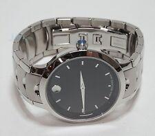 Movado Luno Men's Stainless Steel Bracelet Watch Black Dial 0607041
