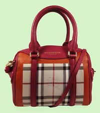 BURBERRY PRORSUM Leather- Trim Tulip Pink/Purple Satchel X-Body Bag Msrp $2,395