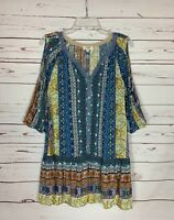 Umgee USA Boutique Women's M Medium Blue Boho 3/4 Sleeves Tunic Top Shirt Blouse