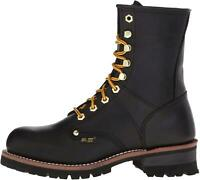"""9"""" Super Logger Soft Toe Boots for Men, Leather Goodyear Welt, Black, Size 8.0 f"""