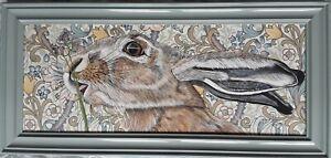 Original large wildlife hare picture painting William Morris art Nouveau fabric