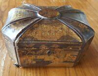 Ancienne Boîte Coffret octogonale en bois laqué Chine Canton XIXème Napoléon 3