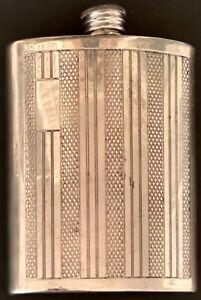 Antique ENGLISH PEWTER CURVED HIP POCKET FLASK Mkd 6 fl oz NO Monogram