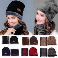 2Pcs Scarf Hat Set Women Winter Warm Balaclava Hat Knitted Beanie Ski Cap Scarf