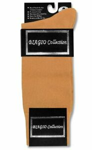 1 Pair of Biagio Solid GOLD Color Mens COTTON Dress SOCKS