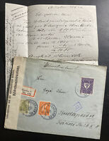 1922 Munich Germany Registered Censored cover to Budapest Hungary With Letter