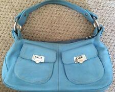 LOVCAT Paris $225 Aqua Blue Handbag Silver Hearts Tags, Extra Hardware