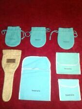 7 pc Lot Tiffany & Co  Blue Drawstring Closure Jewelry Pouches Various Sizes