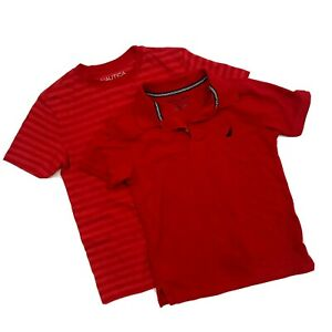 Nautica Boys size Small 8 Short Sleeve Polo T Shirt Top Red Set of 2