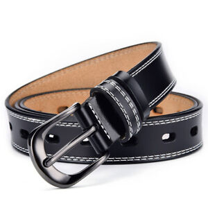Womens Ladies Genuine Leather Belts Casual Buckle Jeans Belt UK Stock (Gift Bag)