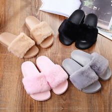 Womens Fox Fur Slippers Rabbit Teddy Fluffy Slides Feather Home Shoes Sandals