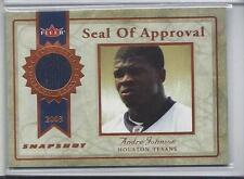 1/1 ANDRE JOHNSON 2003 FLEER SNAPSHOT SEAL OF APPROVAL JERSEY NBRD RC #D 80/375