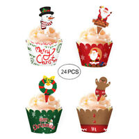 24PCS Christmas Cake Wrappers Cake Toppers Cupcake (12 Wrappers + 12 Toppe kp