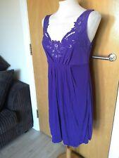 Ladies OASIS Dress Size 12 Purple Beaded Party Evening Smart