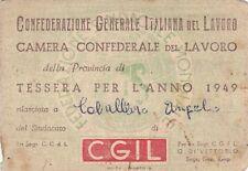 TESSERA CGIL 1949 FIOM PROVINCIA DI SAVONA INTERAMENTE BOLLATA  9-38