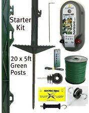 ELECTRIC FENCING STARTER KIT 5ft High Posts 40mm Fence Poly Tape Green Horse