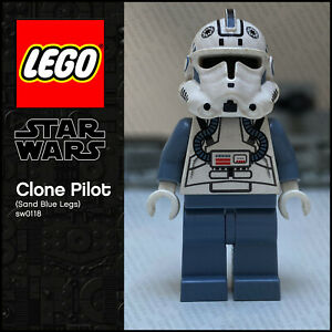 GENUINE LEGO Star Wars Minifigure Clone Pilot Sand Blue Legs sw0118 7259 6205 #2