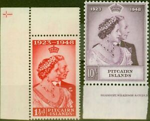 Pitcairn Islands 1949 RSW set of 2 SG11-12 Fine Lightly Mtd Mint