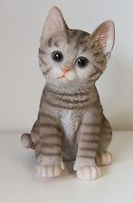 Outdoor Garden Resin Animal Ornament Pet Kitten Sitting Tabby Cat Grey