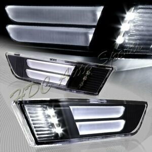 For 2003-2007 Infiniti G35 Coupe Black LED Strip Front Bumper Side Marker Lights