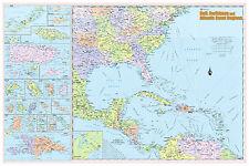 Gulf, Caribbean & Atlantic Coast Regions Wall Map Poster 36x24 Laminated 2018