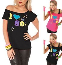 Ladies Women's I Love the 80s Fancy Dress Hen Party Retro T-Shirt Top New 8-26