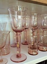 Lot Of 4- 8 1/2� Pink Wine Glasses ~ Goblet Handblown