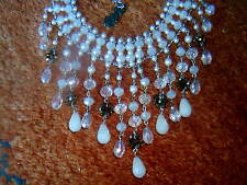BUTLER AND WILSON WHITE, CLEAR NAD BROWN BEADED DROP NECKLACE - NEW, BOXED