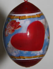 pysanky gourd Valentine's or Mothers Day ornament with hearts