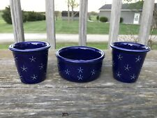 Longaberger Pottery Proudly American Cobalt Blue Dip Bowl Votive Candle Holders
