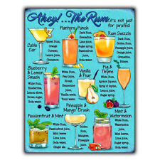 RUM COCKTAIL RECIPES A5 METAL SIGN PLAQUE print Bar Cafe Kitchen Restaurant