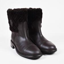 Chanel NWOB $1525 Brown Leather & Shearling Heeled Platform Short Boots SZ 39