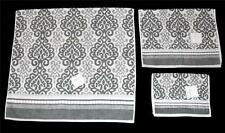 3 Bella Lux Grey White Medallion Scroll Stripes Bath Hand Fingertip Towels NWT