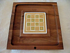 Wood Ceramic Tile Cheese Charcuterie Board Mcm Georges Briard Signed 13.5x13.5