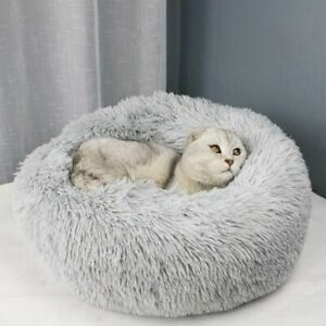Cat Pet Dog Sleeping Bed Cushion Soothing House Round Plush Winter Warm Portable