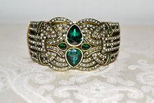 NIB $240 HEIDI DAUS *Emerald City* Green Clear Crystal Hinged Cuff Bracelet S/M