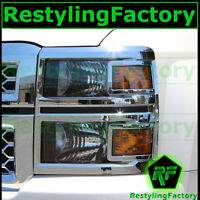 14-15 Chevy Silverado 1500 Triple Chrome Plated Headlight Trim Cover All Model