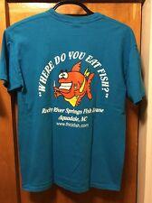 WHERE DO YOU EAT FISH? ~ Medium ~ Charlie w Fork & Spoon NC~ 2 Sided T Shirt EUC