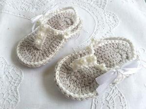 * Crochet Baby Sandals/Shoes * Sizes, Medium & Large * Taupe & White *