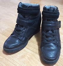 Next Botas Cuña Alta Top Entrenador Zapatos Correas de Velcro Comodidad Negro UK 6.5 EUR40
