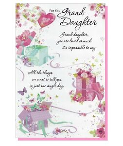 "Granddaughter Birthday Card - LARGE 9""x6"" - Loving Verse Female Ladies Womens"