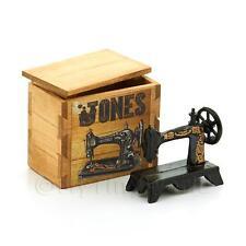 MACCHINA per cucire in metallo in miniatura in una cassa in legno con marchio Jones