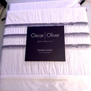 New Oscar Oliver NYC White 100% Cotton Purple Gray Frayed Stripe Shower Curtain