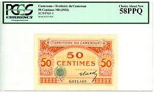 Cameroun ... P-4 ... 50 Centimes ... ND(1922) ... *AU-UNC* ... PCGS 58PPQ