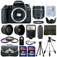 Canon EOS 77D DSLR Camera Body + 3 Lens Kit 18-55mm IS STM + 24GB + Flash & More