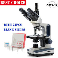 SWIFT SW350T 40X-2500X Compound Microscope Trinocular Lab WF25X+72 Blank Slides