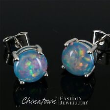 8mm Round Teal Blue Fire Opal Cabochon Silver Jewelry Simple Stud Earrings