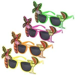 4 Pack Flamingo Hawaiian Cocktail Novelty Sunglasses Fancy Dress Beach Glasses