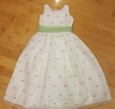 Us Angels Flower Girl Dress White and Green Size 10