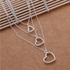 3 layer chains necklace fine jewelry heart love pendant necklace silver necklace